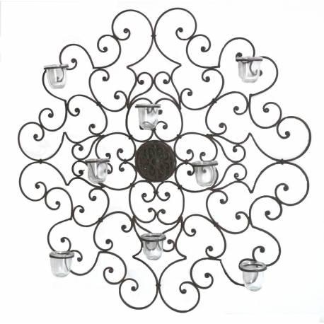 Grand Chandelier Mural ou Applique Candélabre Décoratif Bougeoir 8 Verrines en Fer Patiné Marron 8x85x85cm