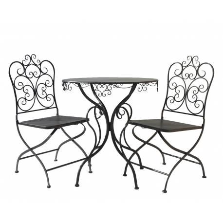 Salon De Jardin Rond 2 Personnes The Bistrot 1 Table Chaises En Fer