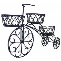 Bicyclette Vélo Porte Plante ou Pot de Fleur Jardinière Bac à Fleurs à 3 Panières en Fer Noir 17x41x64cm
