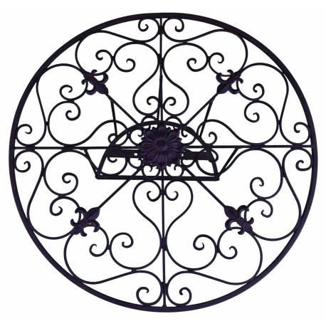 Déroule Tuyaux Motif Fleur de Lys Mural ou Enrouleur Conduit Arrosage Extérieur à Fixer en Fer Patiné Noir 25x25x60cm