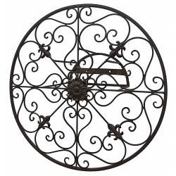 Déroule Tuyaux Motif Fleur de Lys Mural ou Enrouleur Conduit Arrosage Extérieur à Fixer en Fer Patiné Marron 16,5x16,5x40cm