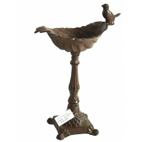 Bénitier sur Pied Style Bain d'Oiseaux ou Mangeoire à Volatiles en Fonte Patinée Marron 22x22x34cm