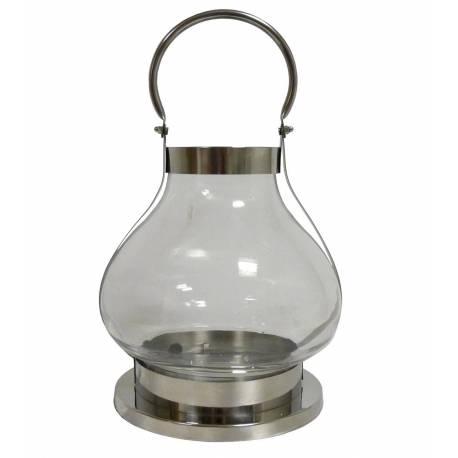 Lanterne Moderne Style Loft ou Lampe Tempête à Bougies en Fer et Verre Chromé 25,5x25,5x41cm