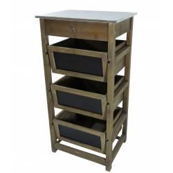 Console d'Appoint Petite Table de Rempotage Semainier Colonne de Rangement en Bois & Zinc 40x50x100cm