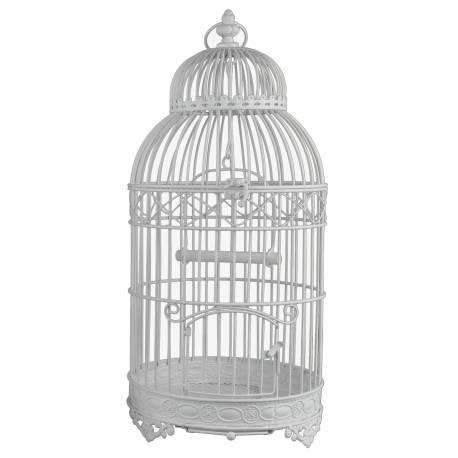 Moyenne Cage à Oiseaux de Jardin Intérieur Extérieur Ronde en Fer Patiné Blanc 20x20x46cm