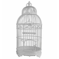 Grande Cage à Oiseaux de Jardin Intérieur Extérieur Ronde en Fer Patiné Blanc 25x25x56cm