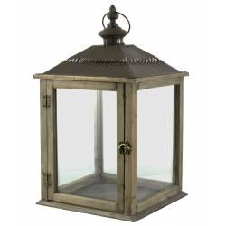 Lampe Tempête Lanterne en Bois et Fer Marron Photophore Carré Intérieur Extérieur 26x26x51cm