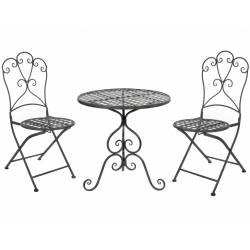 Salon de Jardin Salon de The 2 Places Personnes Table Bistrot et 2 Chaises Pliantes en Fer Gris