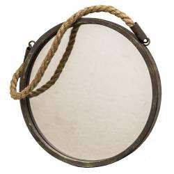 Miroir Glace de Forme Ronde en Fer Patine Marron Gris Vert Façon Hublot avec Anse en Corde 2,50x28x46cm