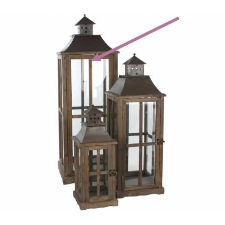 Grande Lanterne Lampe Lampadaire Tempête en Bois Marron Vitre et Fer Carrée 37x37x112cm