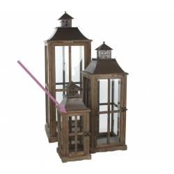 Lanterne Lampe Lampadaire à Bougie Tempête en Bois Marron Vitre et Fer Carrée 21x21x55cm