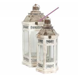 Grande Lanterne Hexagonale Lampe Tempête Luminaire en Bois Blanchi et Fer Patiné Marron 33x33x70cm