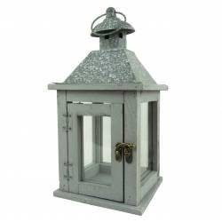 Lanterne Porte Bougie Lampe Tempête Lampion en Bois et Fer Patiné Gris 15x15x30,50cm