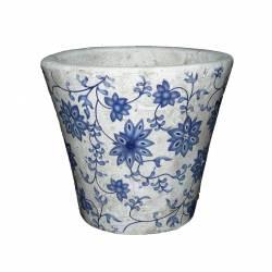 Petit Cache Pot Etanche Style Champêtre aux Motifs Floraux Bleutés en Terre Cuite 11x13x13cm