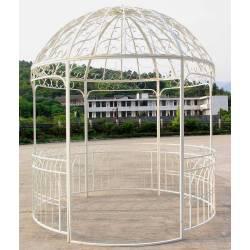 Grande Tonnelle Kiosque de Jardin Pergola Gloriette ou Abris Rond en Métal Blanc 250x250x290cm