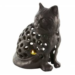 Chat Lanterne Bougeoir Porte Bougie Photophore Sculpture en Fonte Patinée Marron 15x20x23cm