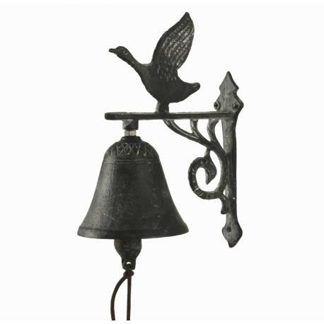 Cloche Sonnette Carillon Clochette de Porte Murale sur Crédence Motif Oie en Fonte Patinée Grise 7,50x13x18cm