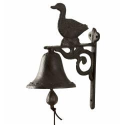 Cloche Sonnette Carillon Clochette de Porte Murale sur Crédence Motif Canard en Fonte Patinée Marron 10,50x16x23cm
