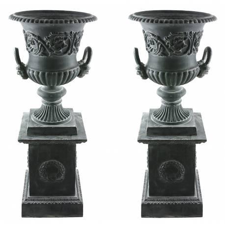Paire de Vasque et Socle Géant Vase Extérieur de Chateau en Fonte 44x44x111cm