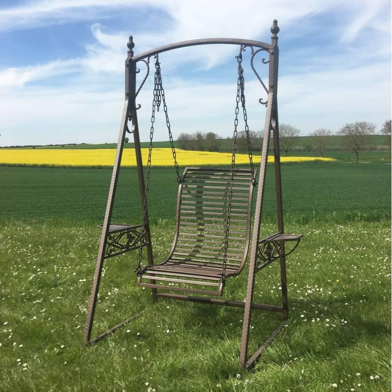 Balancelle 1 personne de charme balan oire pour adultes et enfants mobilier de jardin en fer - Portique balancoire en fer ...