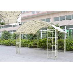 Grande Tonnelle Couverte Kiosque de Jardin Pergola Abris Rectangle en Fer Forgé 280x305x405cm