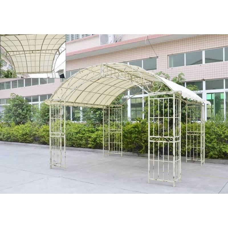 grande tonnelle couverte kiosque de jardin pergola abris rectangle gloriette en fer blanc