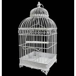 Grande Cage à Oiseaux de Jardin Intérieur Extérieur Carrée en Fer Patiné Blanc 25,5x25,5x55cm