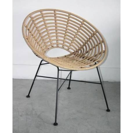 Fauteuil Toma Marque Hanjel Siège de Salon Façon Chaise en Rotin en Acier  et Plastique 63x73x77cm