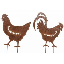 Couple Coq et Poule sur Pic Lot de 2 Statut de Jardin Plaque en Métal Décoration à Piquer en Fer Marron 0,2x32x48cm