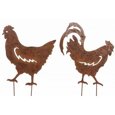 Couple Coq et Poule sur Pic Lot de 2 Statut de Jardin Plaque en ...