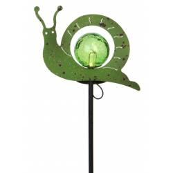 Tuteur Solaire Pic de Jardin Lumineux Tige avec Motif Escargot en Fer Patiné Vert et Boule en Verre Craquelé 6x21x40cm