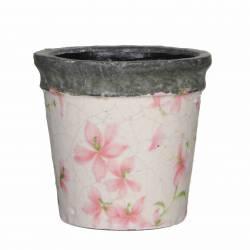 Petit Cache Pot Etanche Style Champêtre aux Motifs Floraux Roses en Terre Cuite Emaillée 10,5x11,5x11,5cm