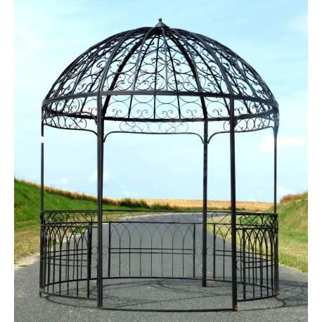 grande tonnelle kiosque de jardin pergola ou gloriette abris rond en fer marron 250x250x290cm. Black Bedroom Furniture Sets. Home Design Ideas