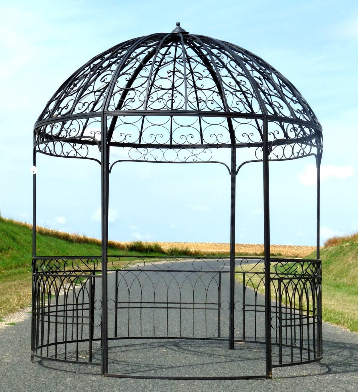 Grande Tonnelle Kiosque de Jardin Pergola ou Gloriette Abris Rond en Fer  Marron 250x250x290cm