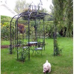 Gloriette Princess Small Tonnelle en Fer Forgé Pergola de Jardin Abris Rond En Acier Peinture Epoxy Marron Martelé 240x240x300cm