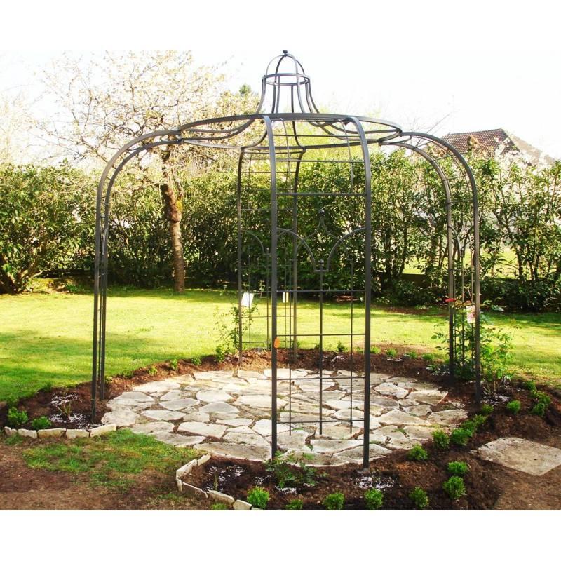 gloriette princess small tonnelle pergola de jardin abris rond en acier peinture epoxy marron. Black Bedroom Furniture Sets. Home Design Ideas