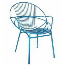 Fauteuil Chaise Siège de Salon ou Salon de Jardin Intérieur Extérieur Acier Patiné Bleu68x69x87cm