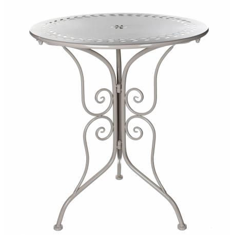 Table de Salon de Jardin Bistrot Console d\'Appoint Bout de Canapé Forme  Ronde en Fer Taupe 60x60x70,5cm