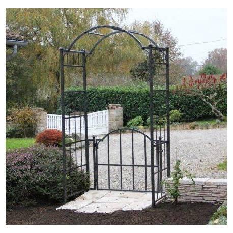 Arche Portillon Classic Garden Portail Arche à Rosiers de Jardin en Fer Forgé Marron Martelé ou Gris Anthracite 71x121x232cm