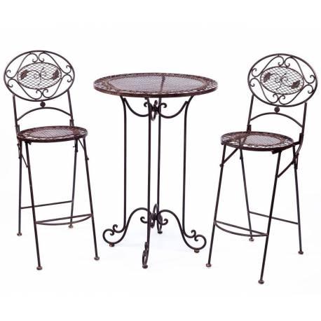 Salon de Jardin Salon de Thé 2 Places Personnes Table Bistrot et 2 Chaises Pliantes en Fer Vert