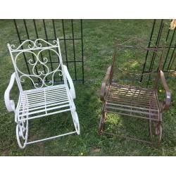 Rocking Chair Chaise Fauteuil de Jardin a Bascule Intérieur Extérieur en Fer Patiné Marron 55x80x92cm