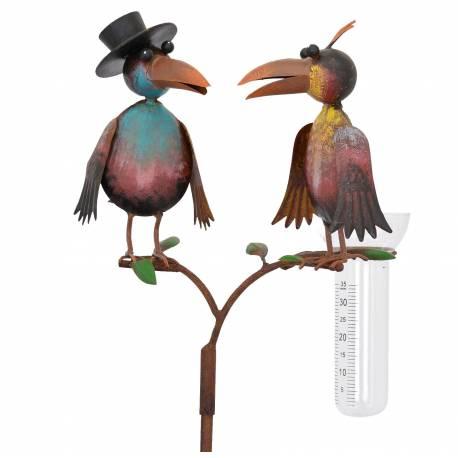 Superbe Pluviomètre à Piquer Tuteur Plante Décoration de Jardin Motif Corbeaux en Fer Patiné et Tube en Verre 23x29x130cm