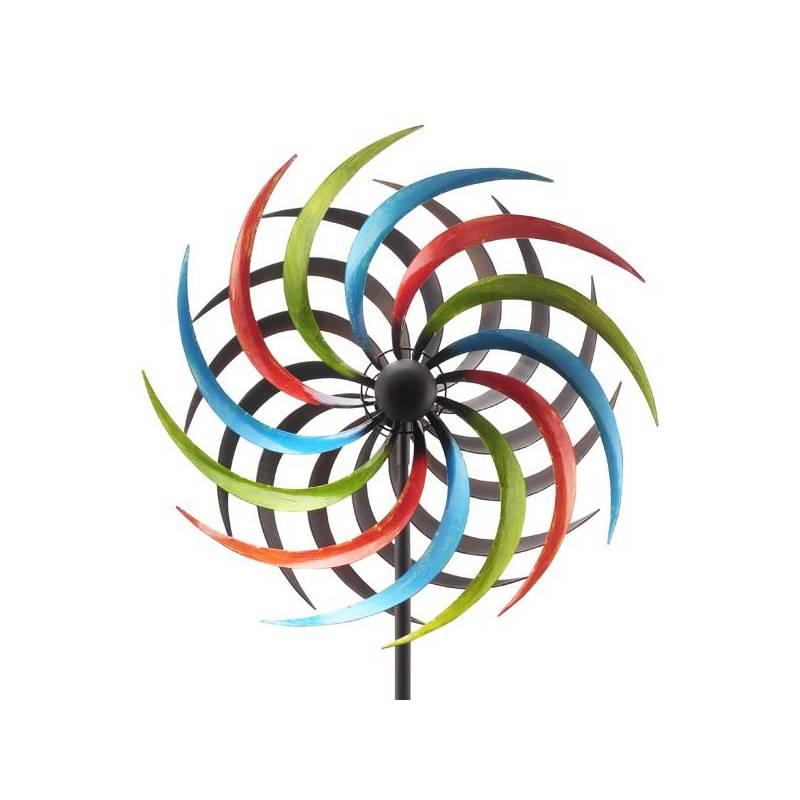 grand mobile pic tuteur de jardin eolienne moulin vent double h lices en fer color. Black Bedroom Furniture Sets. Home Design Ideas