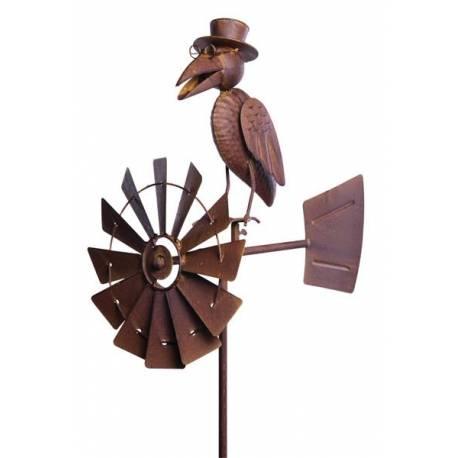 Girouette à Piquer avec Décor Corbeaux et Eolienne Tuteur Mobile à la Force  du Vent Fer Marron 30x50x156cm