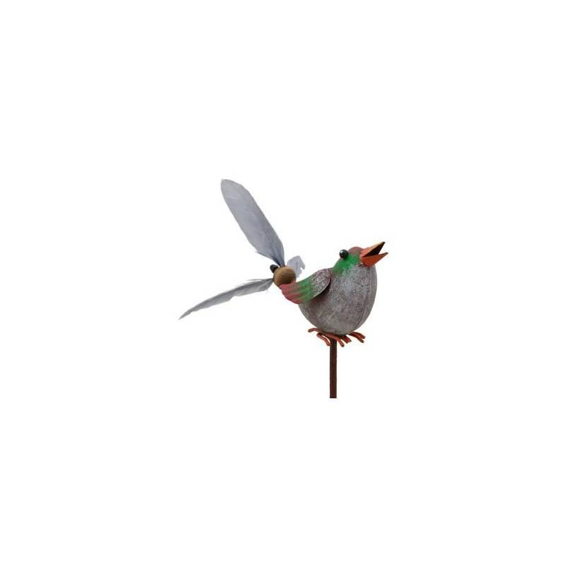 mobile eolienne de forme oiseau tuteur de jardin ou plante en fer patin color 10x16x66cm. Black Bedroom Furniture Sets. Home Design Ideas