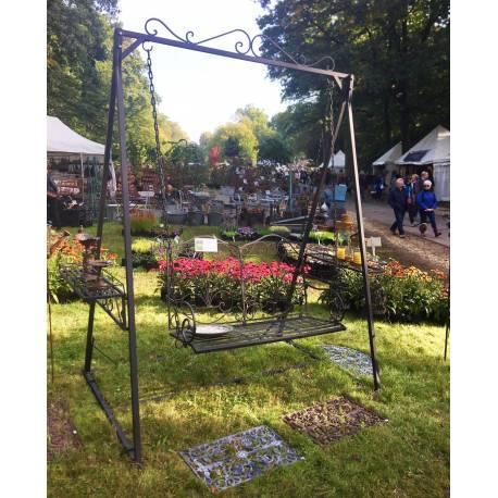 Balancelle de charme balan oire pour adultes et enfants mobilier de jardin en fer 136x227x260cm - Portique balancoire en fer ...