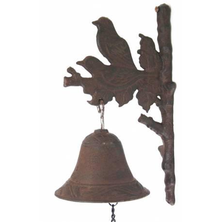 Crédence Motifs Carillon Oiseaux Ou 12x16x28cm Cloche Marron Fonte Applique Murale Patinée Avec En SUzpMVGq