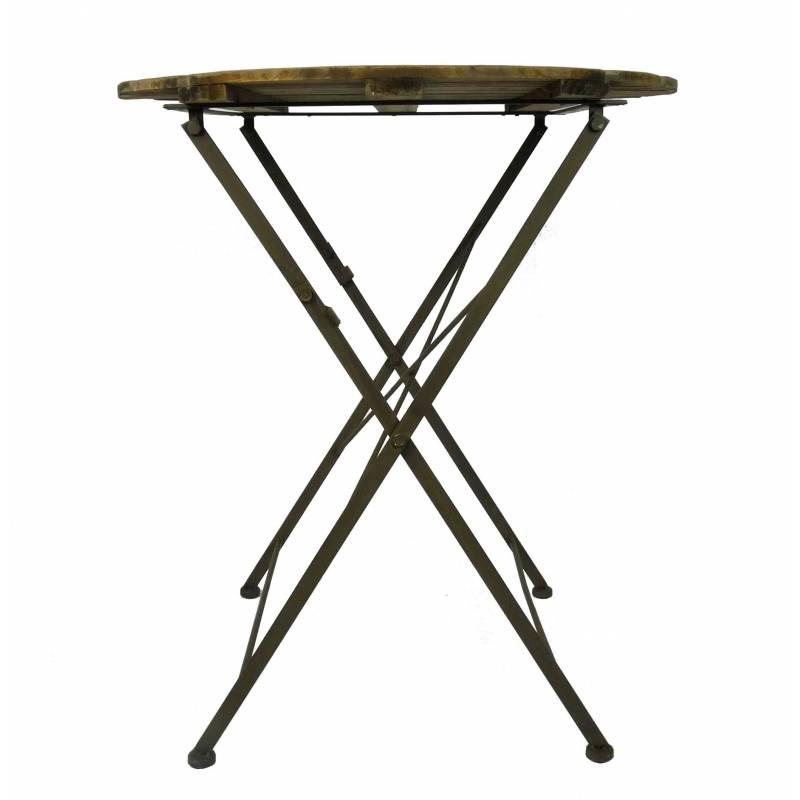 D'appoint Table Intérieur Desserte Fer Et Guéridon Pliable Extérieur En 70x70x80cm Ronde Bois Console XiulwkPOZT