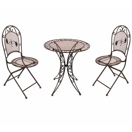 Salon de Jardin 2 Personnes Salon de Thé Bistrot 1 Table 2 Chaises Pliables en Fer Marron