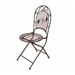Chaise de Jardin Siège Fauteuil Assise Pliante de Salon de Jardin Intérieur Extérieur Fer Marron 41x51x96cm